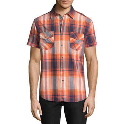Decree Short Sleeve Plaid Button-Front Shirt