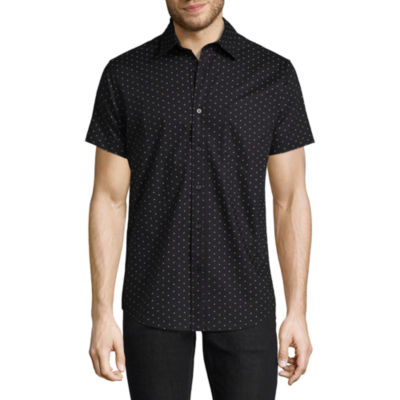 Decree Short Sleeve Polka Dot Button-Front Shirt