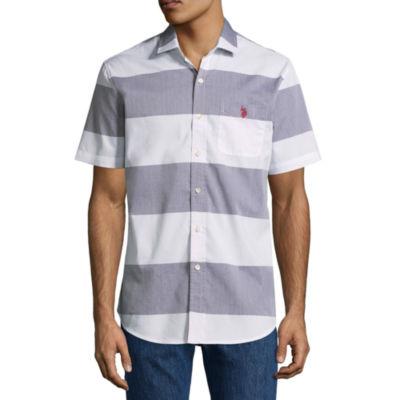 U.S. Polo Assn. Short Sleeve Stripe Button-Front Shirt