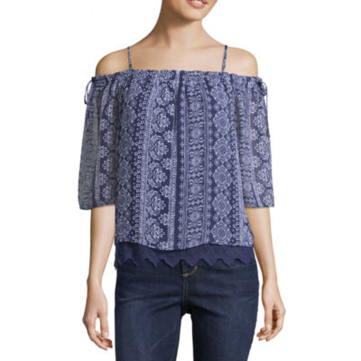by&by 3/4 Sleeve Chiffon Blouse-Juniors