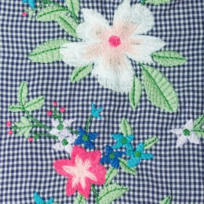 Liz Claiborne Embroidered Gingham Woven Blouse- Plus