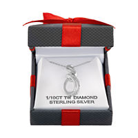 Womens 1/10 CT. T.W. Diamond Sterling Silver Pendant Necklace Deals