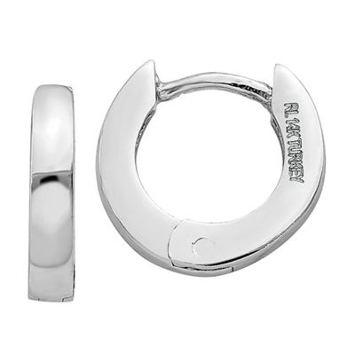 14K White Gold 6mm Round Hoop Earrings