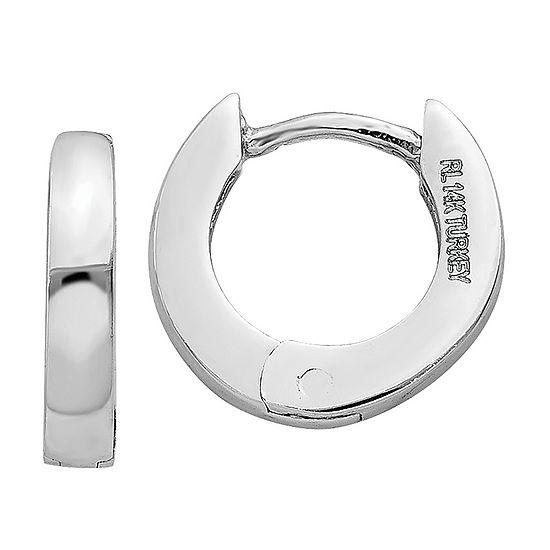 14K White Gold 6mm Round Hoop Earrings