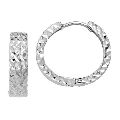 14K White Gold 12mm Round Hoop Earrings
