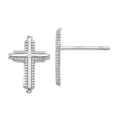 14K White Gold 10mm Cross Stud Earrings