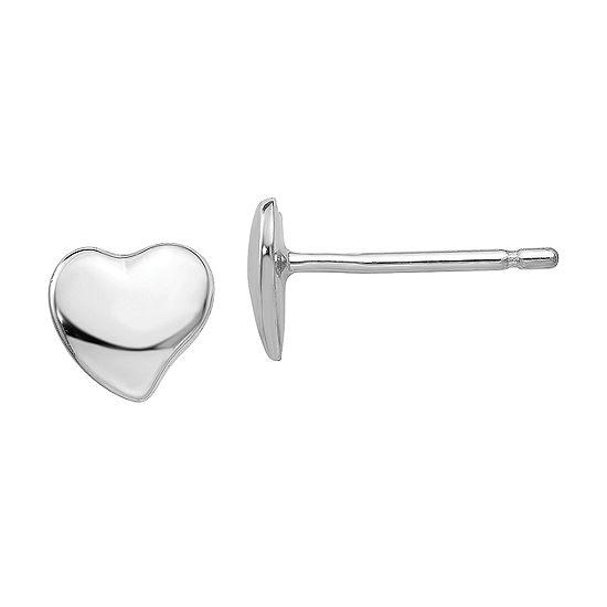14k White Gold 3mm Heart Stud Earrings