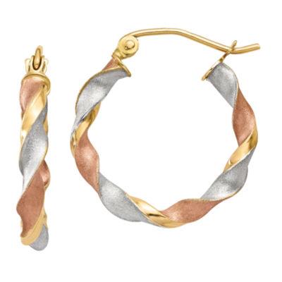14K Gold 23mm Round Hoop Earrings