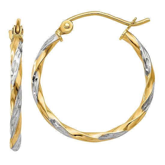 14K Gold 21mm Round Hoop Earrings