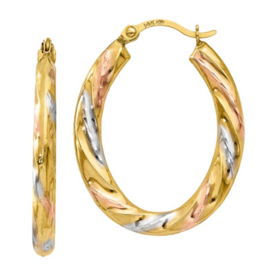 14K Gold 24mm Oval Hoop Earrings