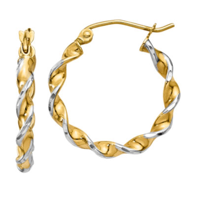 14K Gold 16mm Round Hoop Earrings