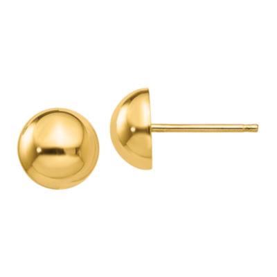 14K Gold 8mm Round Stud Earrings