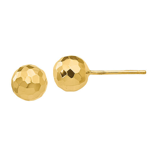 14K Gold 7mm Round Stud Earrings