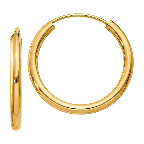 14K Gold 17mm Round Hoop Earrings