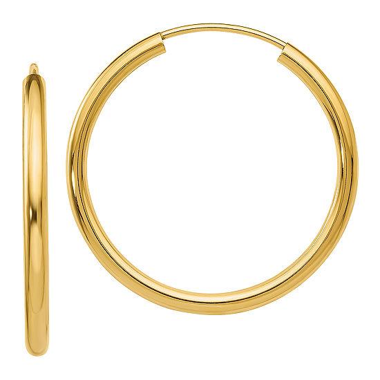 14K Gold 22mm Round Hoop Earrings