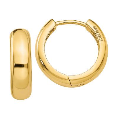 14K Gold 11mm Round Hoop Earrings
