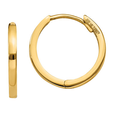 14K Gold 11mm Round Hoop Earrings