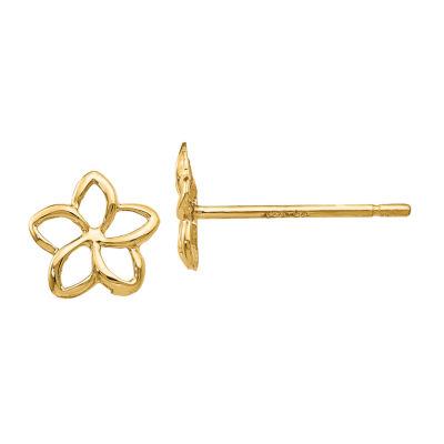 14K Gold 7mm Flower Stud Earrings