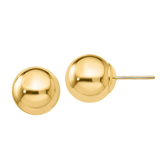 14K Gold 10mm Round Stud Earrings