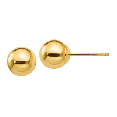 14K Gold 6mm Round Stud Earrings
