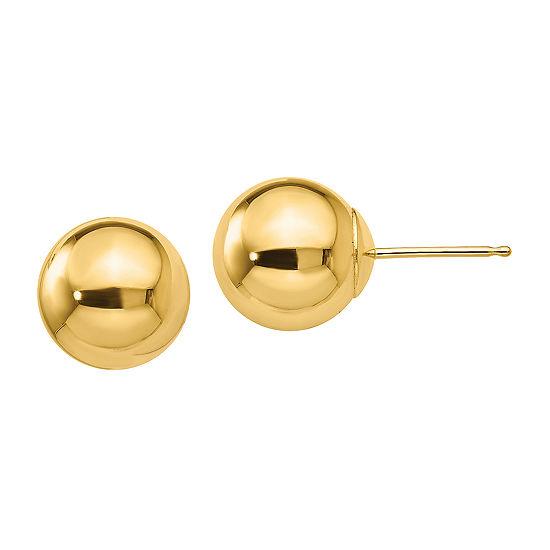 14K Gold 9mm Round Stud Earrings