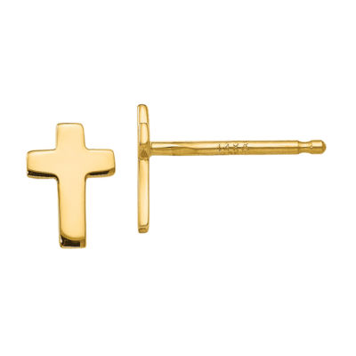 14K Gold 6mm Cross Stud Earrings