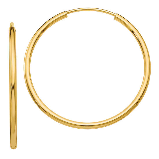 14K Gold 26mm Round Hoop Earrings