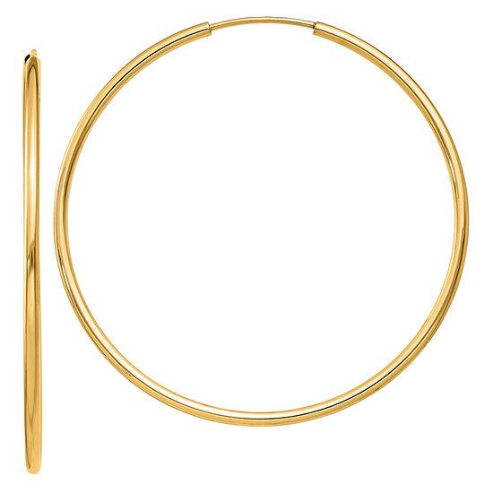 14k Gold 40mm Round Hoop Earrings
