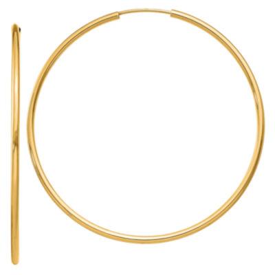 14K Gold 45mm Round Hoop Earrings