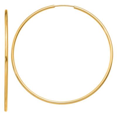 14K Gold 51mm Round Hoop Earrings