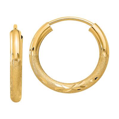 14K Gold 7mm Round Hoop Earrings