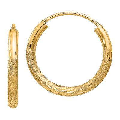 14K Gold 9mm Round Hoop Earrings