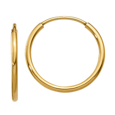 14K Gold 14mm Round Hoop Earrings