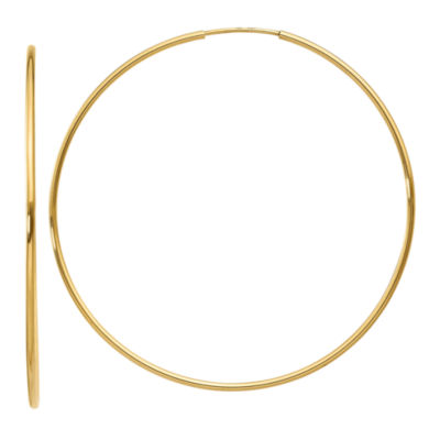 14K Gold 52mm Round Hoop Earrings