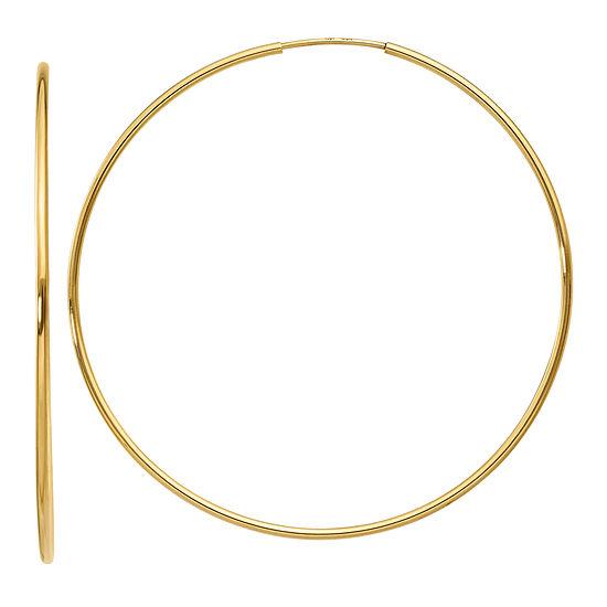 14K Gold 52mm Round Hoop Earrings