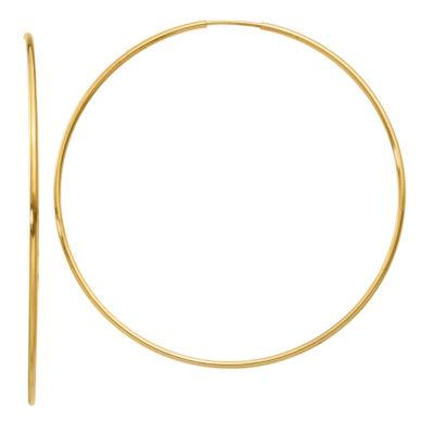 14K Gold 58mm Round Hoop Earrings