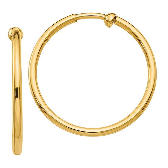 14K Gold 25mm Round Hoop Earrings