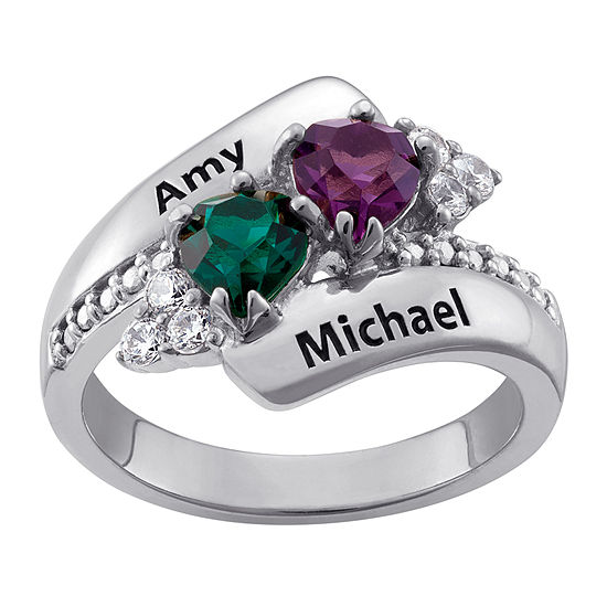 Personalized Womens Crystal Sterling Silver Heart Cocktail Ring