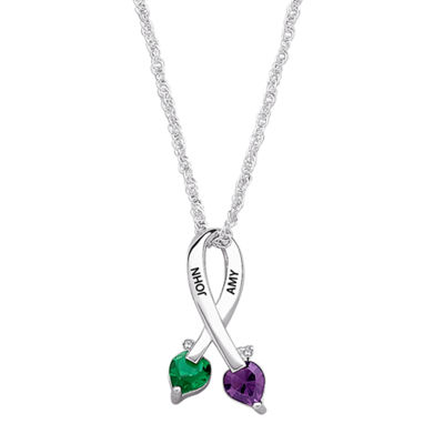 Personalized Womens Diamond Accent Crystal Sterling Silver Heart Pendant Necklace
