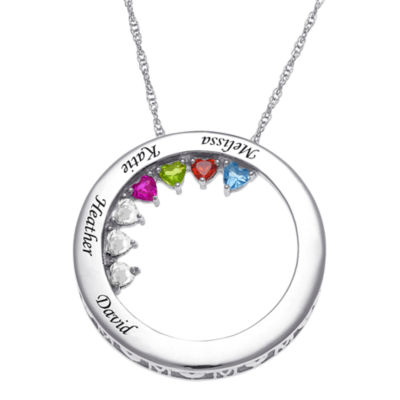 Personalized Womens Crystal Sterling Silver Circle Pendant Necklace