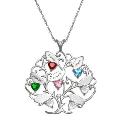 Personalized Womens Crystal Heart Pendant Necklace