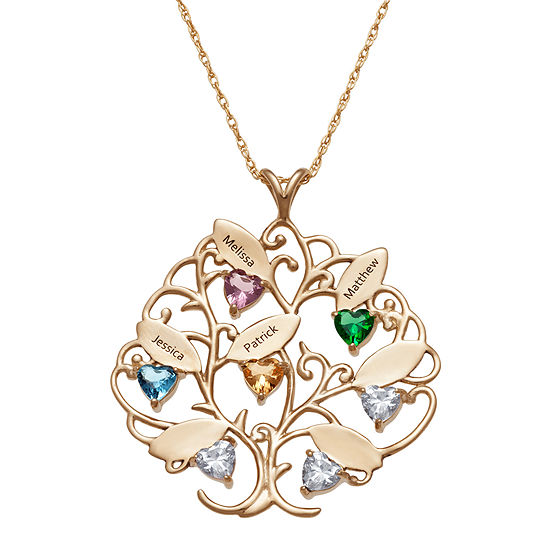 Personalized Womens Crystal 18k Gold Over Silver Heart Pendant Necklace