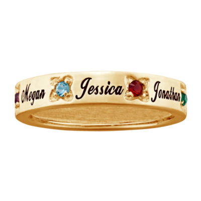 Personalized Womens Crystal Round Cocktail Ring