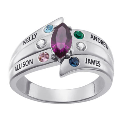Personalized Womens Cubic Zirconia Sterling Silver Oval Cocktail Ring