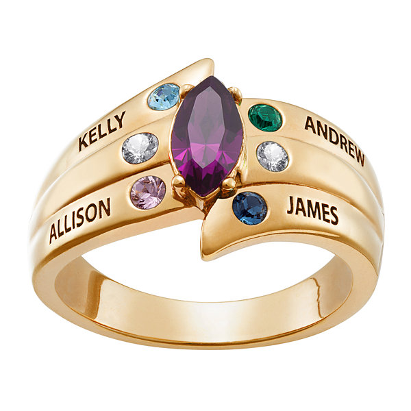 Personalized Womens Cubic Zirconia 18K Gold Over Silver Cocktail Ring