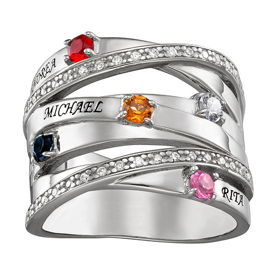 Personalized Womens Crystal Sterling Silver Round Cocktail Ring