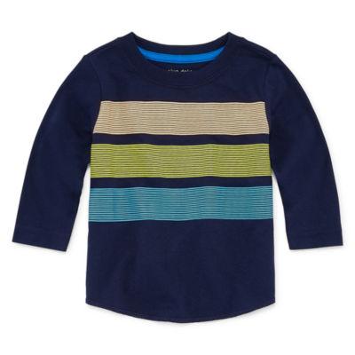 Okie Dokie Long Sleeve Stripe Tee Shirt - Baby Boy NB-24M