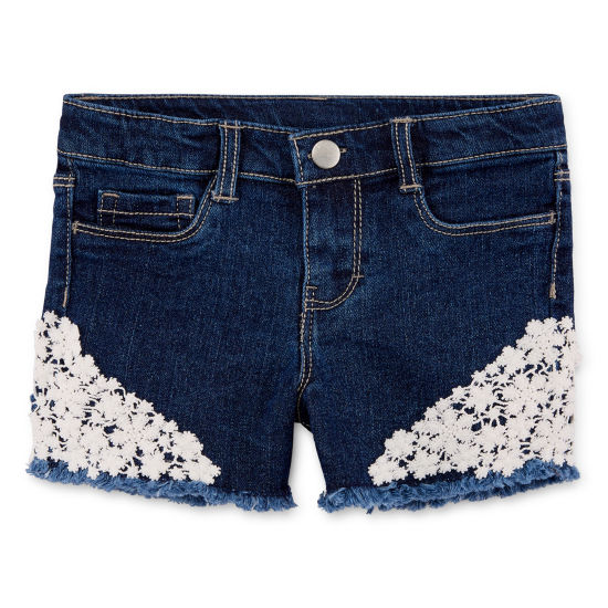 Okie Dokie Lace Denim Shortie Shorts - Toddler Girls
