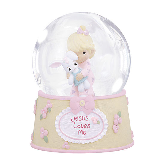 Precious Moments Girl With Bunny Waterball Baby Milestones - Girls