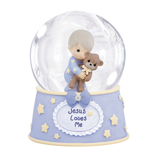 Precious Moments Boy With Teddy Waterball Baby Milestones - Boys